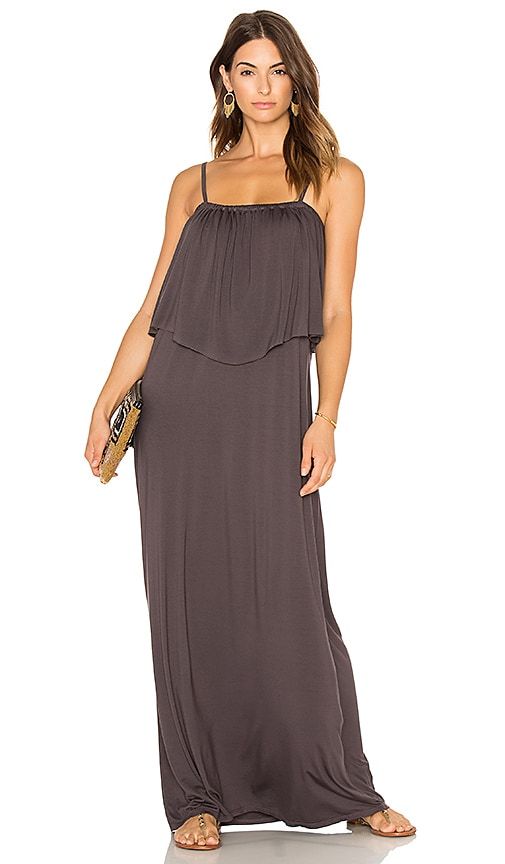 Michael Lauren Matador Maxi Dress in Charcoal