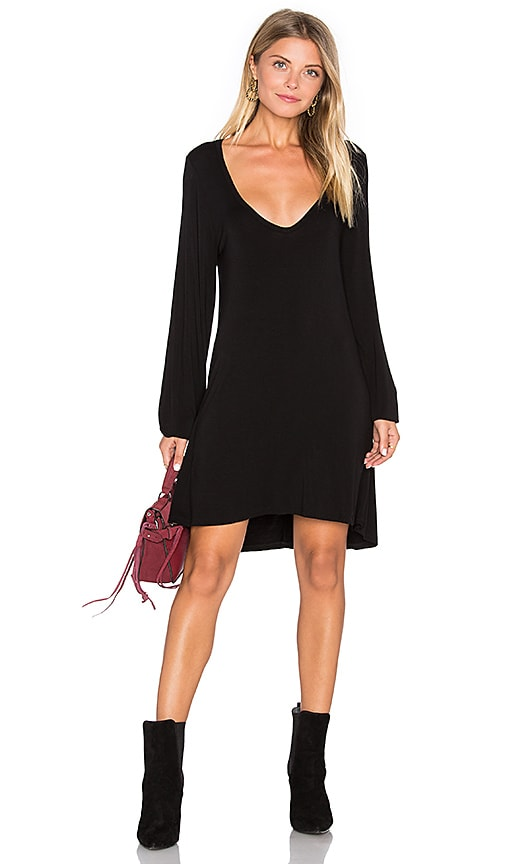Michael Lauren Jeb V Neck Dress in Black