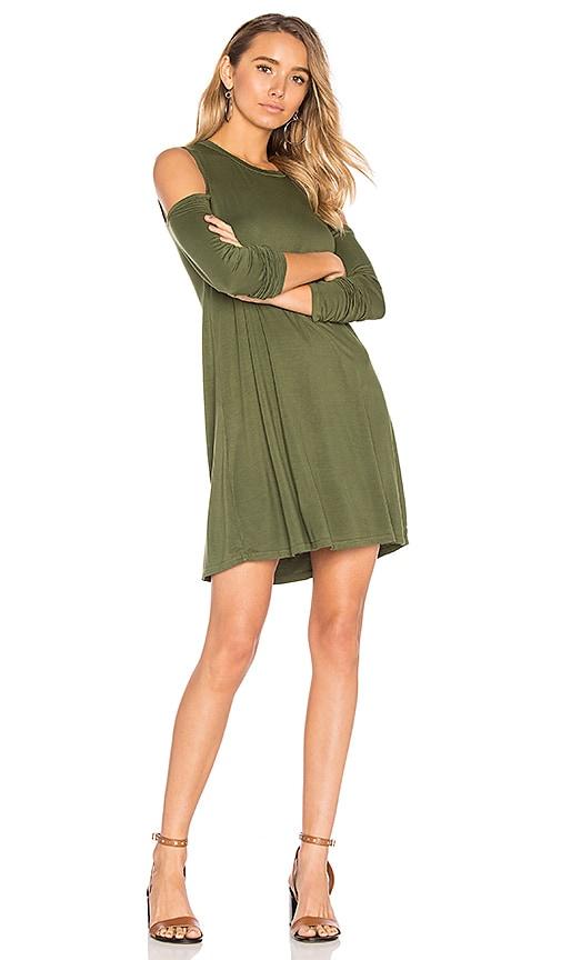 Michael Lauren Radford Open Shoulder Dress in Olive