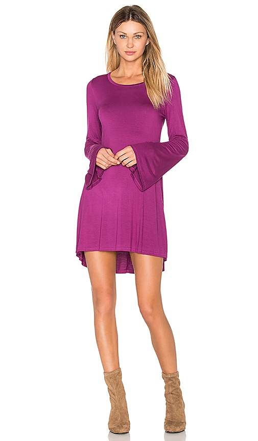 Michael Lauren Kipp Bell Sleeve Mini Dress in Fuchsia