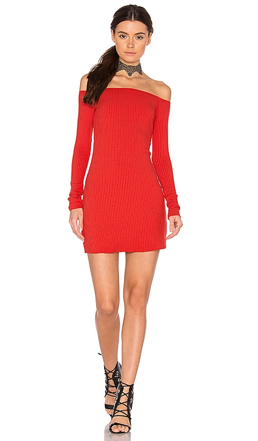 Michael Lauren Karl Off Shoulder Dress in Red
