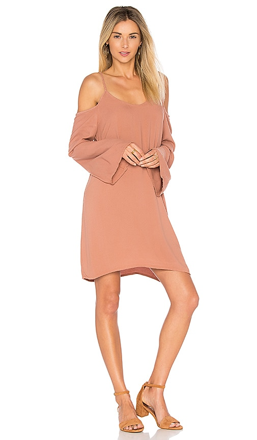 Michael Lauren Gillis Bell Sleeve Dress in Brown