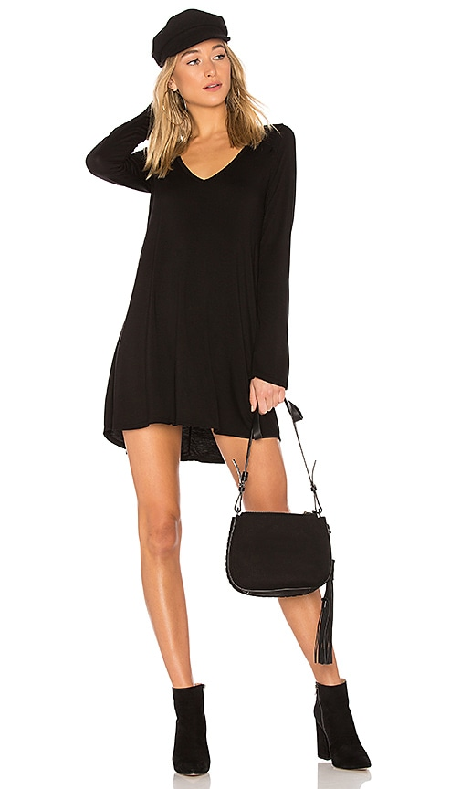 Michael Lauren Kyle V-Neck Dress in Black