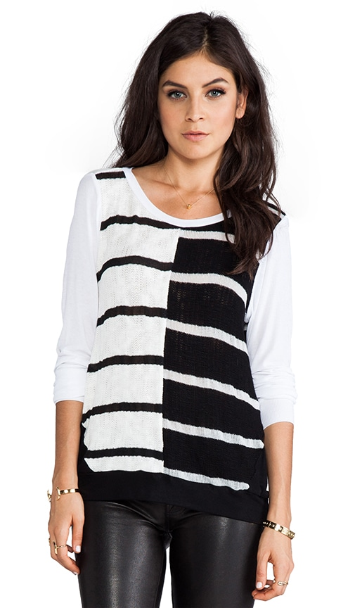 Vince Long Sleeve Color Block Stripe Open Back