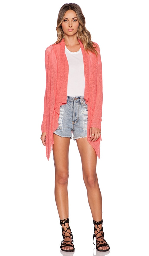 Michael Lauren Isaac Draped Cardigan in Pink