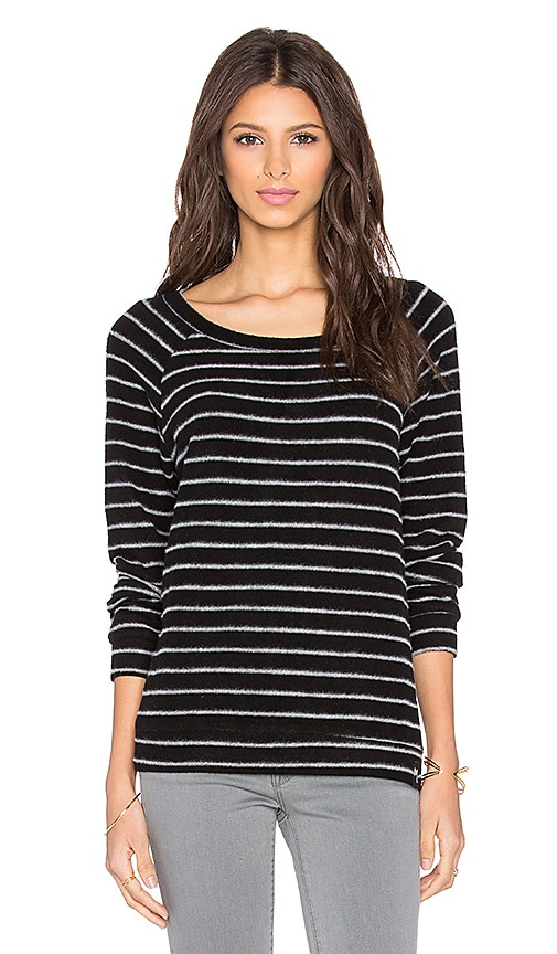 Michael Lauren Kenny Long Sleeve Pullover in Black Stripe
