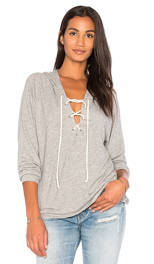 Michael Lauren Carson Lace Up Hoodie in Gray