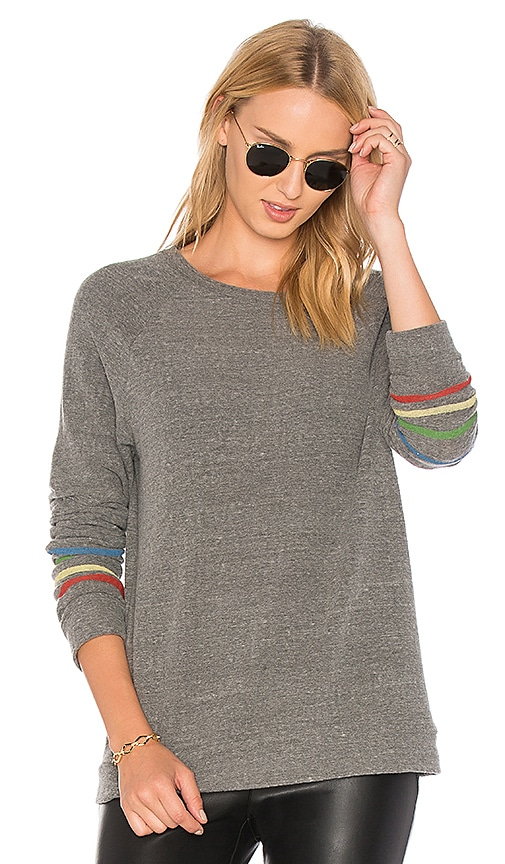 Michael Lauren Percy Classic Pullover with Stripes in Gray