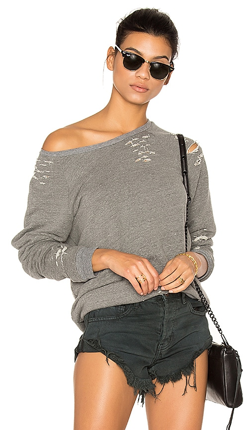 Michael Lauren Draco Distressed Pullover in Gray