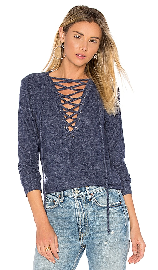 Michael Lauren Dominic Lace Up Pullover in Blue