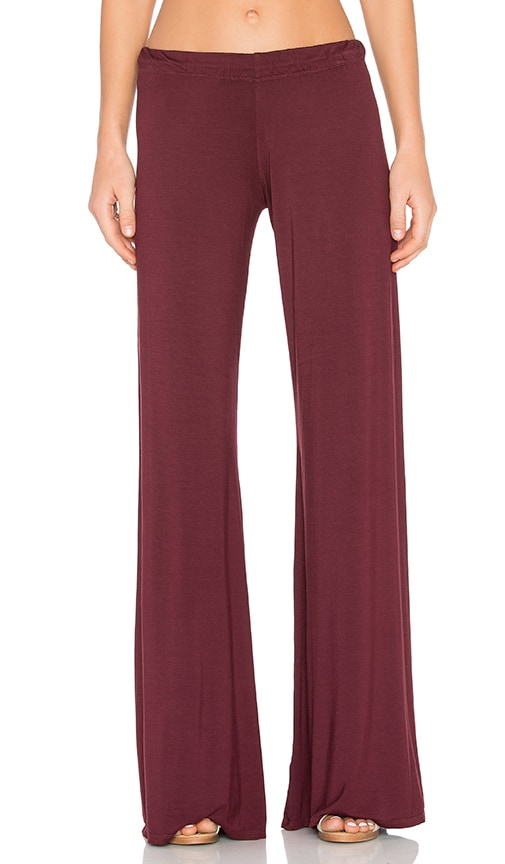 Michael Lauren Derby Wide Leg Pant in Burgundy