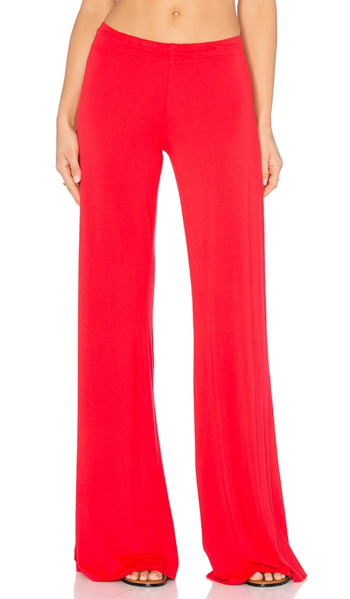 Michael Lauren Derby Wide Leg Pant in Red