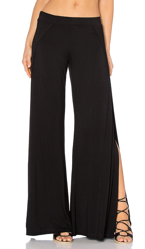 Michael Lauren Troy Wide Leg Pant with Slit in Black