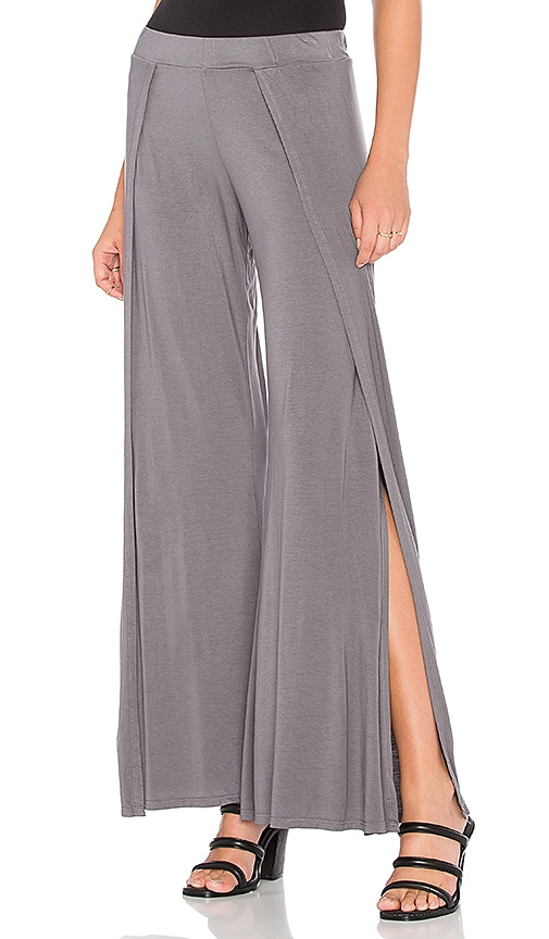 Michael Lauren Troy Wide Leg Pant with Slit in Gray