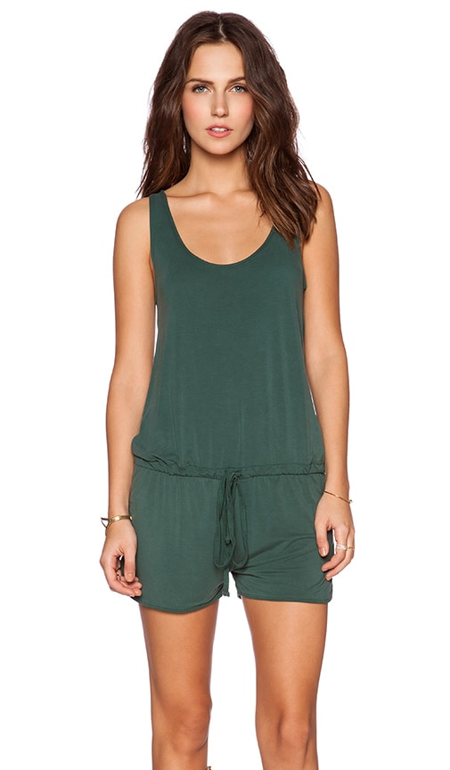 Michael Lauren Bello Tank Romper in Dark Green
