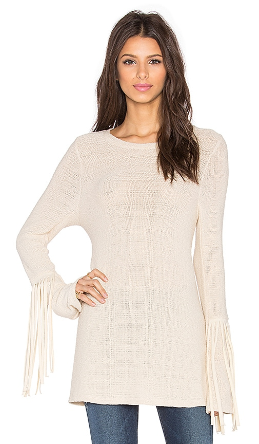Michael Lauren Neka Fringe Sweater in Natural