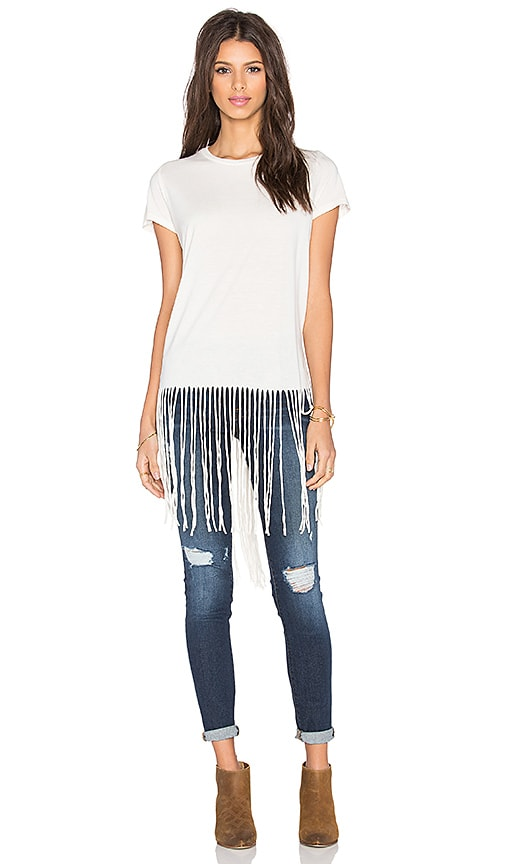 Michael Lauren Scout Fringe Tee in Faded White