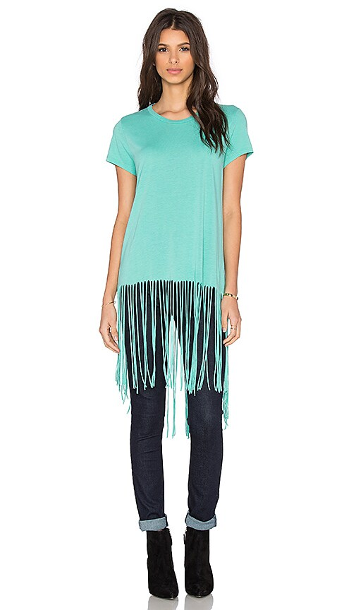 Michael Lauren Scout Short Sleeve Fringe Tee in Green