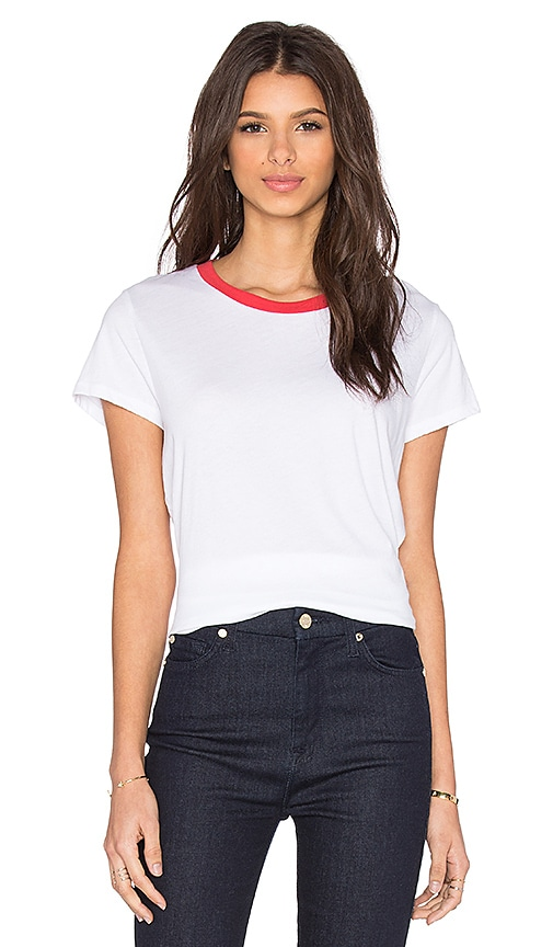 Michael Lauren Toby Short Sleeve Contrast Neck Tee in White