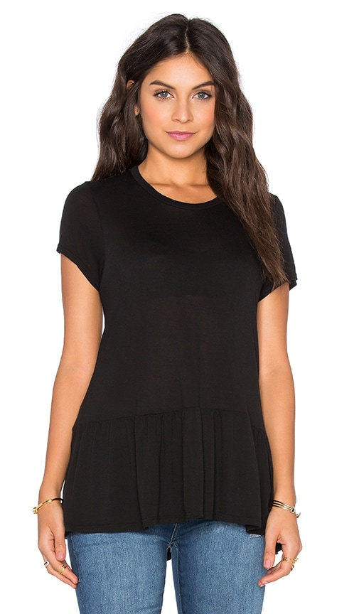 Michael Lauren Hart Short Sleeve Ruffle Tee in Black
