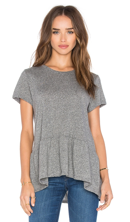 Michael Lauren Hart Short Sleeve Ruffle Tee in Gray