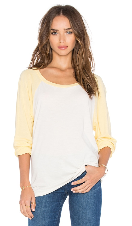 Michael Lauren Elroy Long Sleeve Crop Contrast Tee in Faded White & Custard