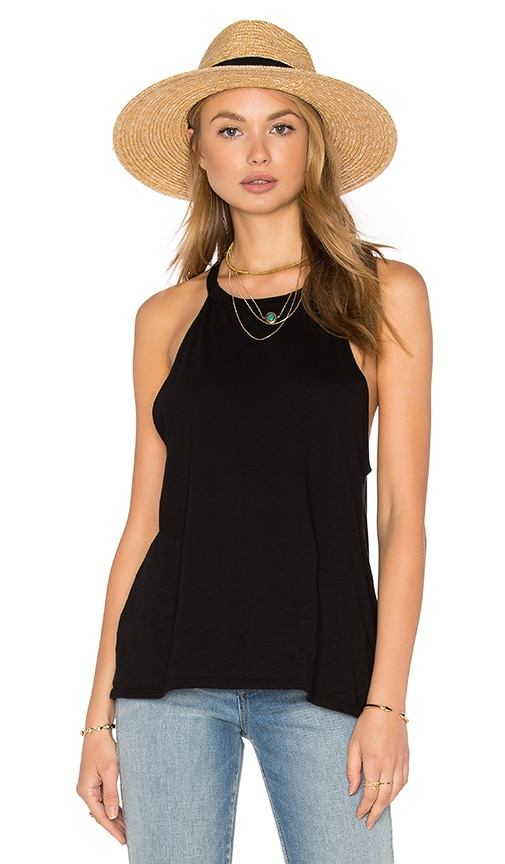 Michael Lauren Cactus High Neck Tank in Black