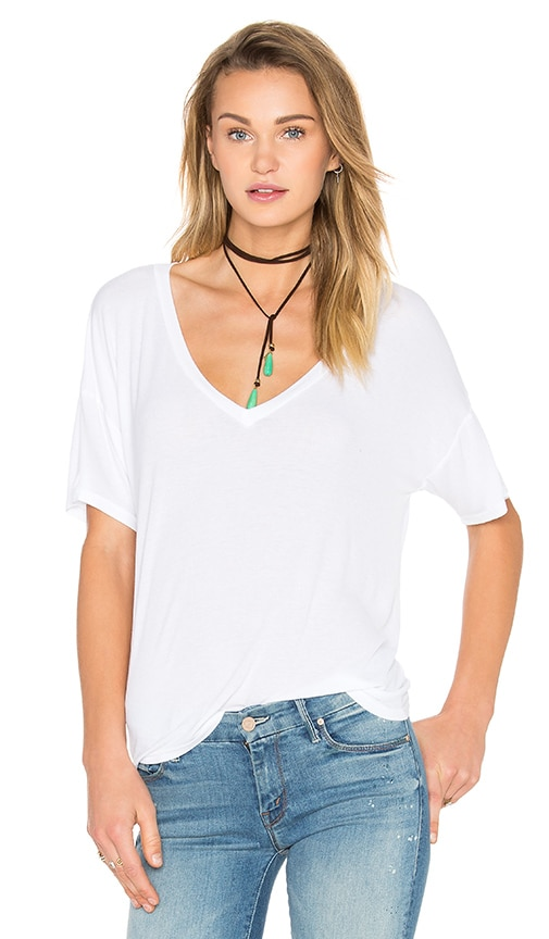 Michael Lauren Gram V Neck Tee in White