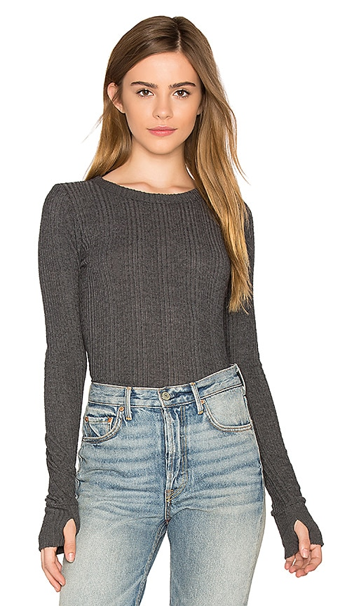 Michael Lauren Alick Thumbhole Tee in Charcoal