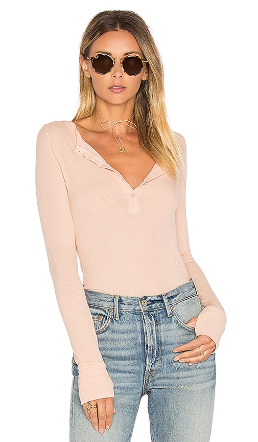 Michael Lauren Vance Long Sleeve Henley in Peach