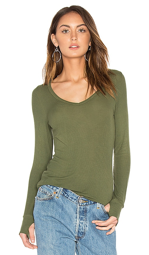 Michael Lauren Otis V Neck Tee in Army