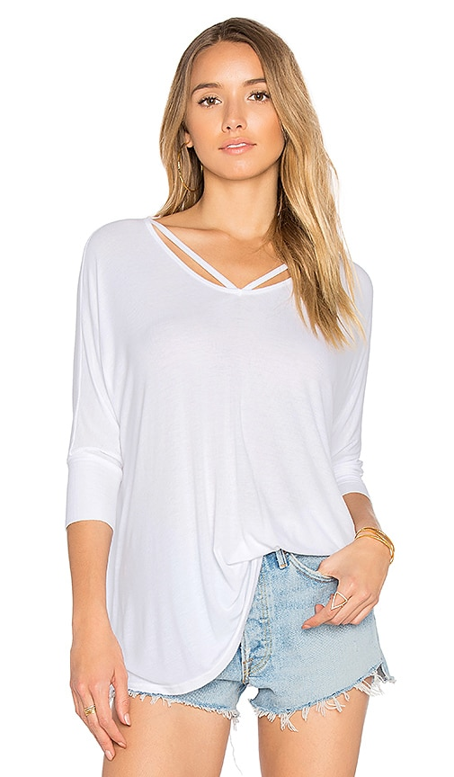 Michael Lauren Landry Cut Out Tee in White
