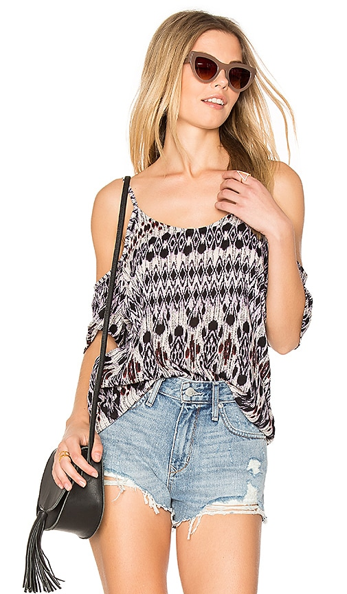 Michael Lauren Zion Open Shoulder Top in Purple