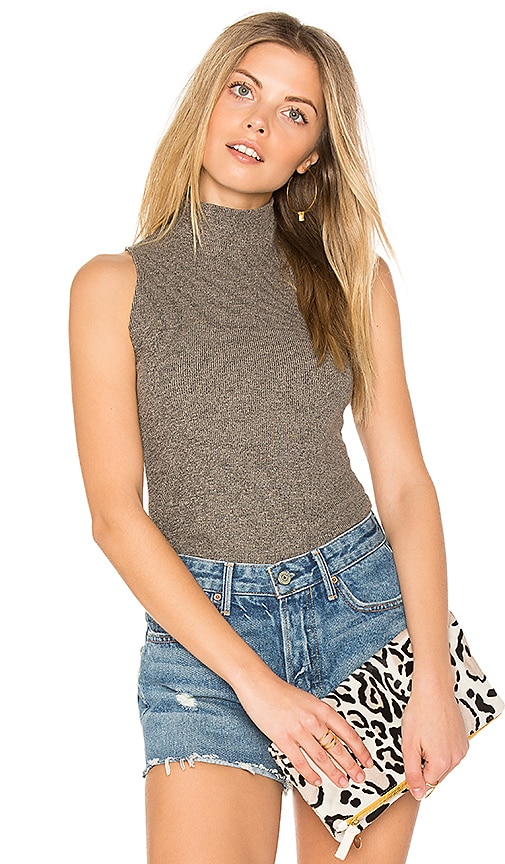 Michael Lauren Giovanni Mock Neck Tank in Gray