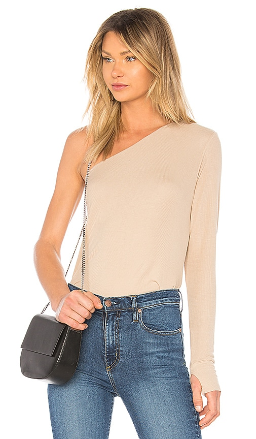 Michael Lauren Mac One Shoulder Top in Cream