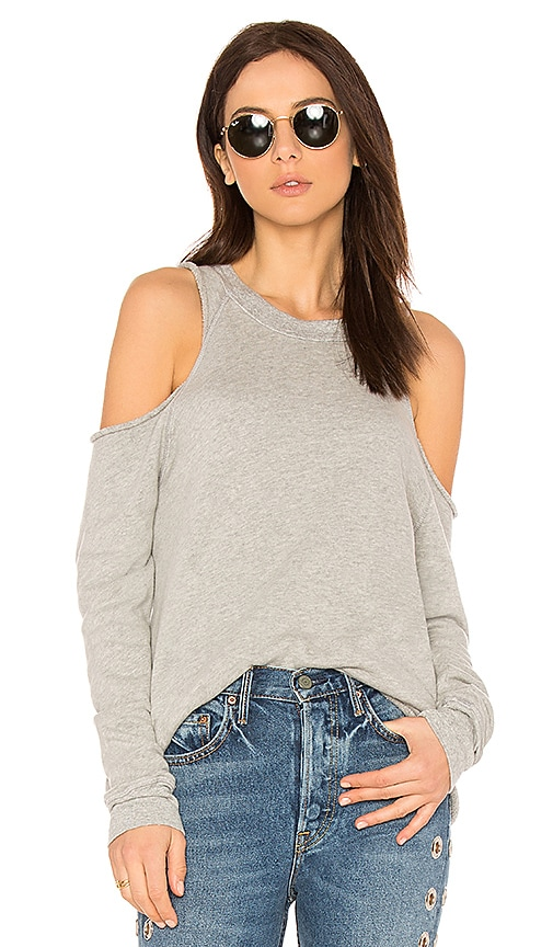 Michael Lauren Haris Open Shoulder Sweatshirt in Gray