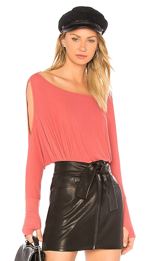 Michael Lauren Deuce Drape Top in Red