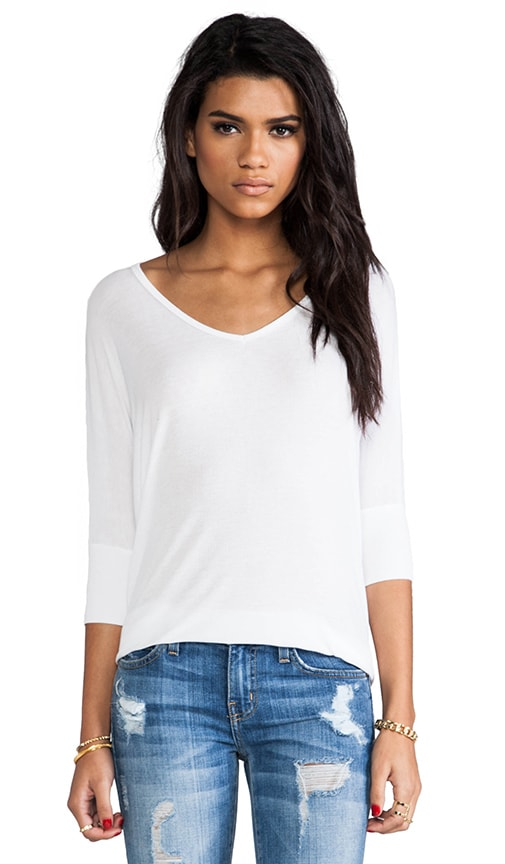 Dylan 3/4 V Neck Draped Tee