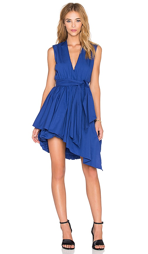 MLM Label Wrap Billow Dress in Blue