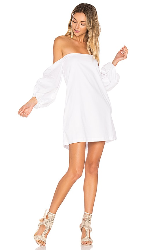 MLM Label Pillar Shoulder Dress in White