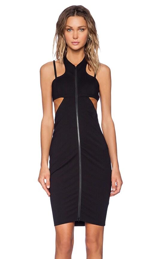 MLM Label Zip Dress in Black