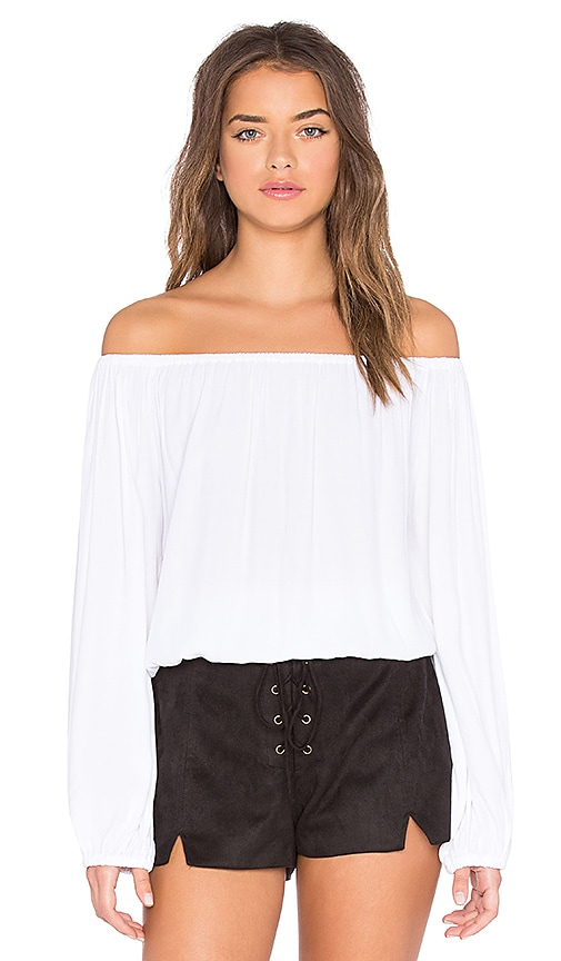 MLM Label Dash Off Shoulder Top in White