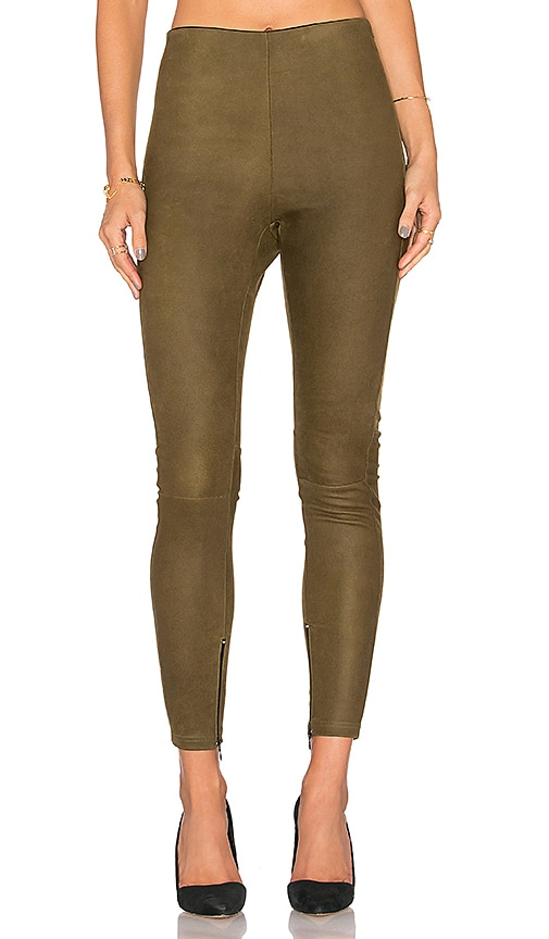MLML High Waisted Suede Legging in Olive