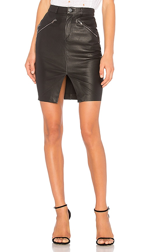 MLML Mid Rise Front Zipper Skirt in Black