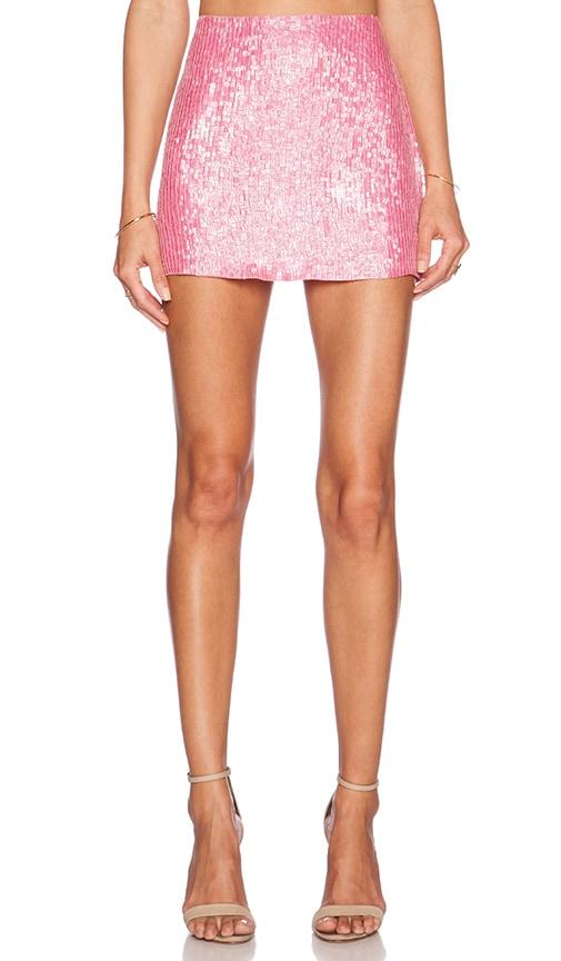 MLV Justin Sequin Mini Skirt in Carnation
