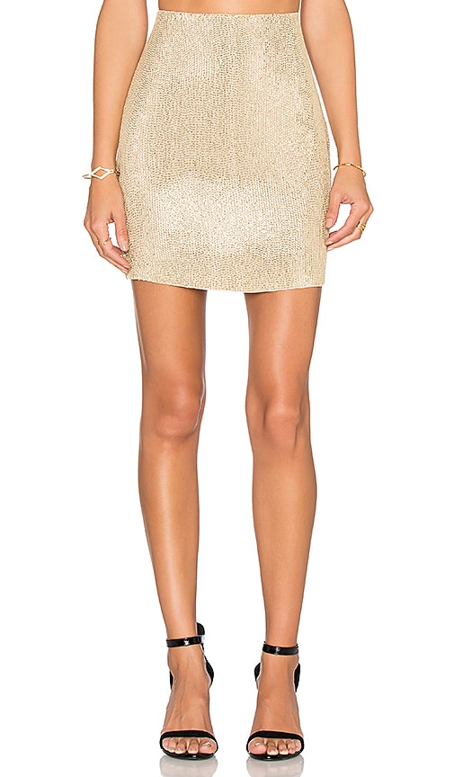 MLV Natalie Sequin Pencil Skirt in Metallic Gold