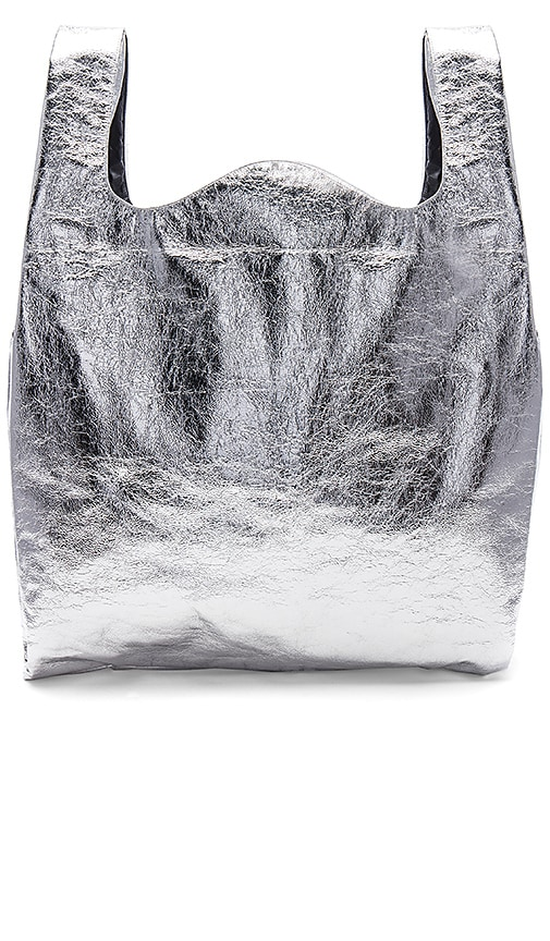 MM6 Maison Margiela Shopping Bag in Metallic Silver