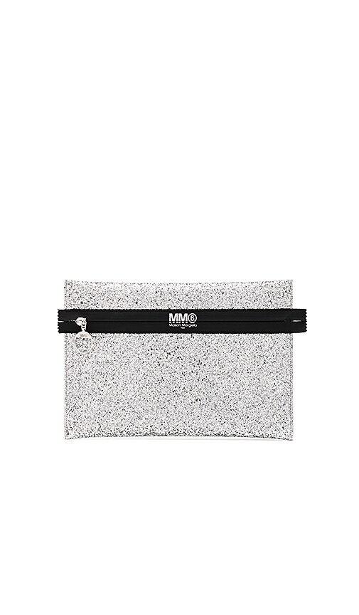 MM6 Maison Margiela Glitter PVC Clutch in Metallic Silver