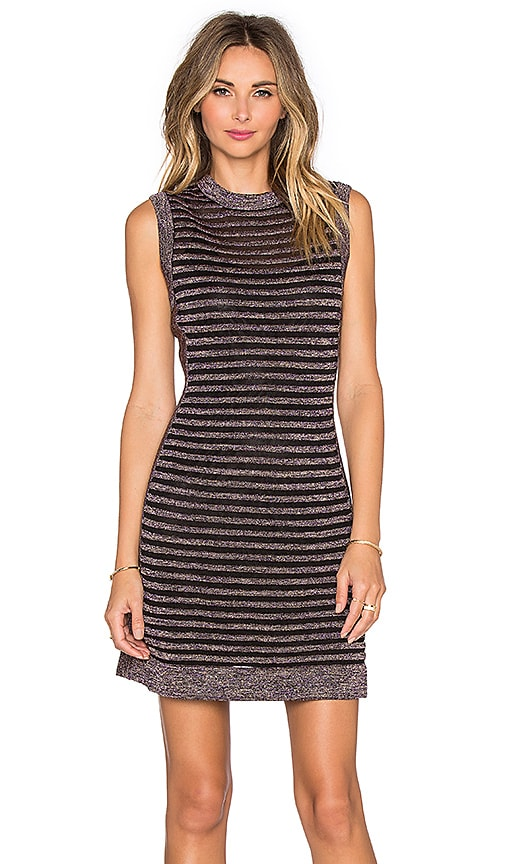 M Missoni Ribbed Mesh Lurex Mini Dress in Plum