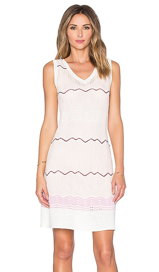 M Missoni Sleeveless Zig Zag V Neck Mini Dress in Blush